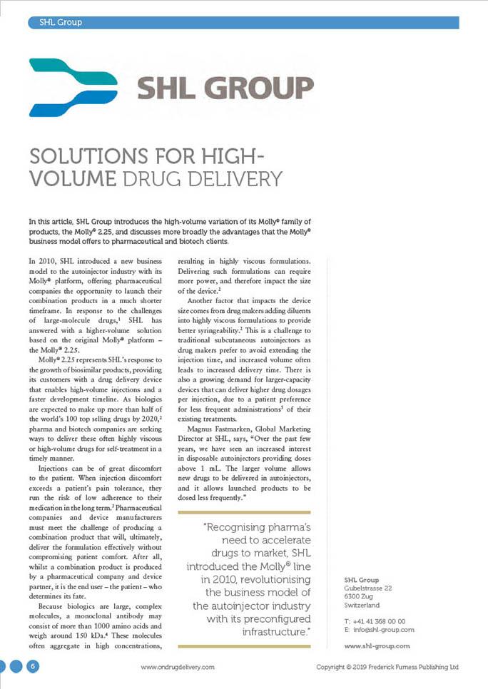 Articles Ondrug Shl February 2019 Solutions For High Volume Drug Delivery New